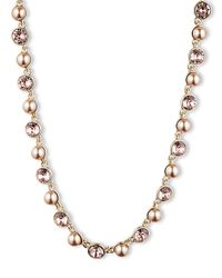 Givenchy - Metallic Vintage Rose Crystal Blush Pearl Necklace - Lyst