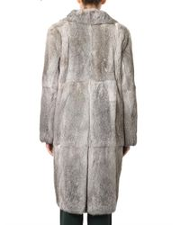 Marni - Gray Doublebreasted Fur Coat - Lyst