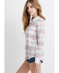 Forever 21 | Natural Contrast-striped Shirt | Lyst