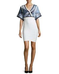 Hervé Léger - Blue Jacquard Stretch-Jersey Bandage Dress  - Lyst