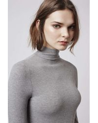 TOPSHOP - Gray Long Sleeved Funnel Body - Lyst