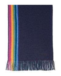 Paul Smith | Blue Rainbow Reversible Wool Scarf | Lyst
