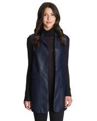 1.STATE Blue Long Faux Leather Vest