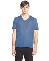 John Varvatos | Blue John Varvatos Linen Roll Trim V-neck Tee for Men | Lyst