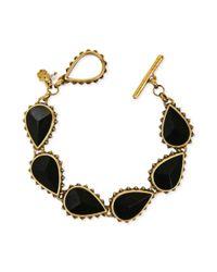 Lucky Brand - Metallic Goldtone Black Stone Flex Toggle Bracelet - Lyst
