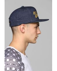 Undefeated - Blue Denim Script Snapback Hat for Men - Lyst