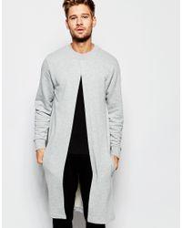 ASOS - Gray Loungewear Extreme Longline Sweatshirt With Split Front for Men - Lyst