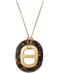 Michael Kors | Metallic Gold-Tone Tortoise Acetate Maritime Pendant Necklace | Lyst