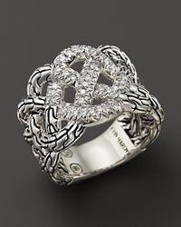 John Hardy | Metallic Diamond Pave & Silver Silver Classic Chain Ring | Lyst