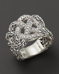 John Hardy - Metallic Diamond Pave & Silver Silver Classic Chain Ring - Lyst