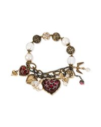 Betsey Johnson - Metallic Multitone Half Stretch Charm Bracelet - Lyst