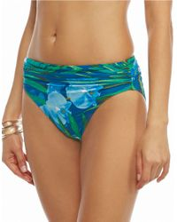 Carmen Marc Valvo | Blue Tropical Banded Swim Bottom | Lyst