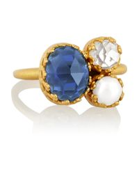 Kevia - Metallic Gold-tone, Crystal And Faux Pearl Ring - Lyst
