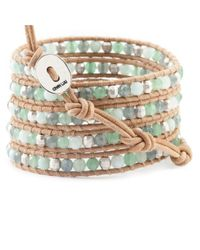 Chan Luu | Natural Green Aventurine Mix Wrap Bracelet On Beige Leather | Lyst