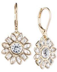 Nine West | Metallic Gold-tone Crystal Drop Earrings | Lyst