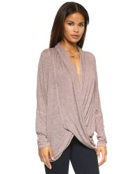 Free People | Purple Drape Front Hacci Top | Lyst