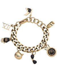 Karl Lagerfeld | Metallic Womens Karl 7 Gold-tone Stainless Steel Charm Bracelet Watch 20mm | Lyst