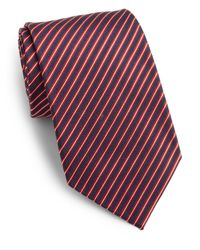 Saks Fifth Avenue - Red Narrow Striped Silk Tie for Men - Lyst