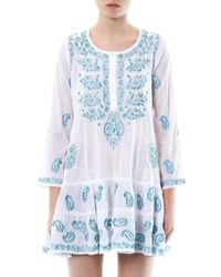 Juliet Dunn | White Embroidered Cotton Kaftan | Lyst