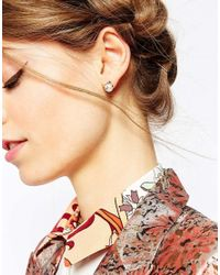 ASOS - Metallic Cute Cat Faux Pearl Earrings - Lyst