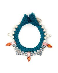 Joomi Lim | Blue Cotton Braid Crystal Bracelet | Lyst