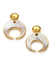 Nest - White Horn Crescent Drop Earrings - Lyst