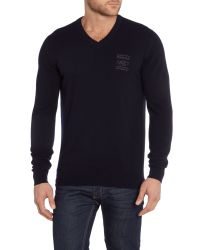 Barbour | Blue Land Rover Rugby Wigan V Neck for Men | Lyst