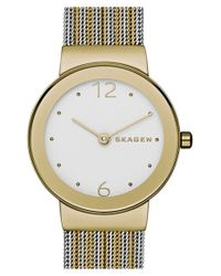 Skagen - Brown 'freja' Mesh Strap Watch - Lyst