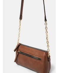 Violeta by Mango - Brown Zipped Pebbled Bag - Lyst