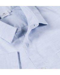 Sunspel - Blue Men's Short Sleeve Oxford Cotton Shirt for Men - Lyst