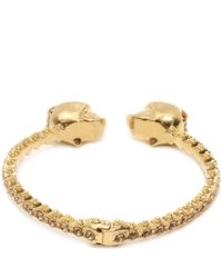 Alexander McQueen - Metallic Twin Skull Faux Pearl Bangle - Lyst