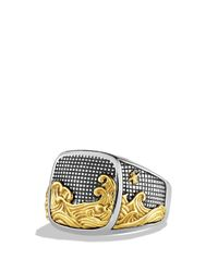 David Yurman | Metallic Waves Signet Ring With Gold for Men | Lyst
