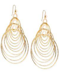 Steve Madden | Metallic Gold-Tone Interlinked Circle Drop Earrings | Lyst