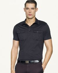 Ralph Lauren - Gray Black Label Shortsleeved Jersey Military Shirt for Men - Lyst