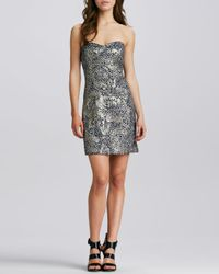 MILLY - Gray Corsette Strapless Jacquard Dress 6 - Lyst