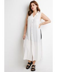 Forever 21 | White High-slit Longline Shirt | Lyst
