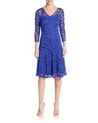 Chetta B | Blue Lace Illusion-yoke Dress | Lyst