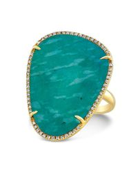 Anne Sisteron - Metallic 14kt Yellow Gold Amazonite Diamond Organic Shape Cocktail Ring - Lyst