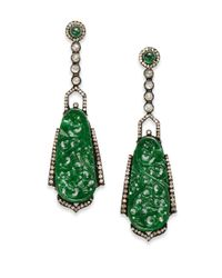 Bavna | Green Jade, Diamond & Sterling Silver Chandelier Earrings | Lyst