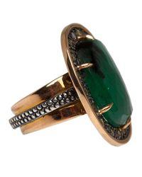 Moritz Glik - Green Rose Gold Emerald and Champagne Diamond Ring - Lyst