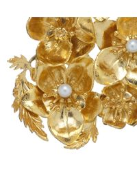 Alex Monroe - Metallic Exclusive Helebores Gold Plated Pearl Christmas Brooch Set - Lyst