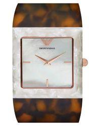 Emporio Armani - Brown Square Acetate Cuff Watch - Lyst