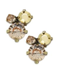 American Rag - White Goldtone Faceted Crystal Cluster Stud Earrings - Lyst