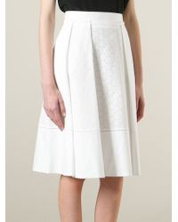 Ferragamo | White Perforated A-Line Skirt | Lyst