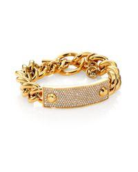Michael Kors - Metallic Heritage Plaque Pavé Toggle Bracelet/Goldtone - Lyst