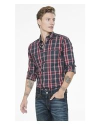 Express | Red Fitted Plaid Going Out Shirt for Men | Lyst