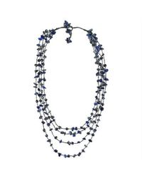Aeravida - Metallic Cotton Rope Pearl And Lapis Stone Layered Necklace - Lyst