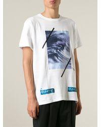 Off-White c/o Virgil Abloh - White Wave-Print T-Shirt for Men - Lyst