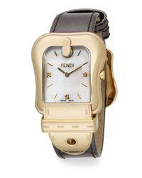 Fendi   Metallic B. Goldtone Ip & Leather Buckle Watch   Lyst