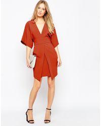 ASOS - Brown Mini Asymmetric Pocket Dress With Kimono Sleeves - Lyst